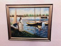 Modern Landscape Mother And Son River Edge Oil Painting On Canvas Framed