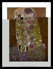 Gustav Klimt Der Kuss Poster Kunstdruck Bild im Alu Rahmen schwarz 80x60cm