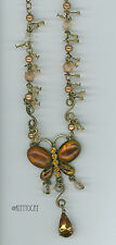 Topaz Rhinestones Amber Pearl and AB Butterfly Necklace Antique Gold Finish