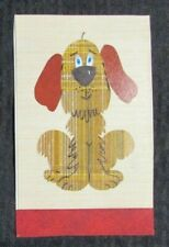 "FABRIC DOG w/ Floppy Ears  5x8"" Greeting Card Art #7692"