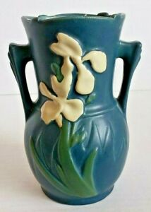 """Vintage Roseville double handled blue Iris vase #917-6"""" pottery floral *repaired"""