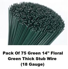 "Florists Thick Stub Wire 75 14"" Green Lacquered Flower Arranging Stubbing Craft"