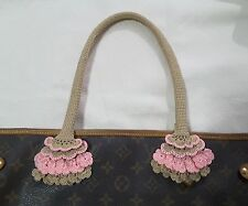 NEW Handle Cover Crochet Handmade for bag  Neverfull mm gm  beige pink