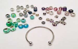 European-Style Charm Collection Lot Rhinestone Glass Green Blue Amethyst More