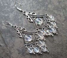 Aurora Borealis Boho Chic  Chandelier Earrings with Sterling Silver lever backs