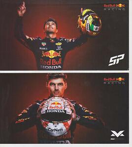 2 Cards Set F1 Red Bull RBR Verstappen + Perez Driver Promo Postcard Print 2021