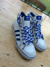 VTG ADIDAS TRAINERS BLUE WHITE UK 6 LACE UP SHOES FOOTBALL CASUAL NIZZA SPORT