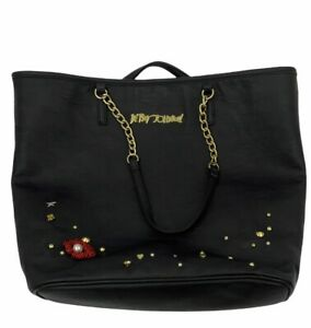 Betsey Johnson Red lips embroidered accent Large black tote