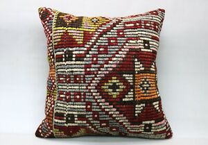 Kilim Pillow, 24x24 in, Decorative Ethnic Cushion, Handmade Vintage Pillow