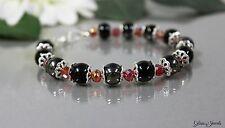Glass Jewels Silber Armband Perlen Schwarz Rot Länge 22 cm #G002