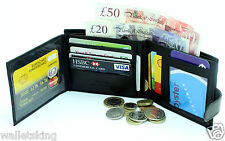 GENTS RFID BLACK REAL LEATHER CREDIT CARD HOLDER, PURSE, COIN POUCH WALLET 304