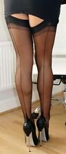 Gio FF Fully Fashioned Point Heel Nylon Seamed Stockings Black size 11 XL