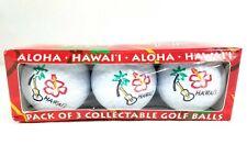 Hawaii Golf Balls Collectibles Souvenir Set of 3 Novelty New Ukulele Floral