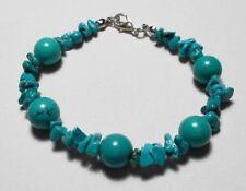 "Turquoise beads + nuggets 7.25"" bracelet"