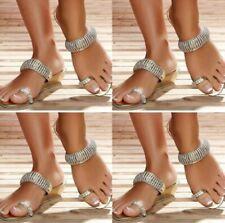 Womens Low Wedge Heel Ankle Strap Slip On Rhinestone Bling Slipper Clip Toe A10