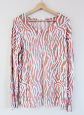Seed Heritage Size S Tan White Zebra Print Viscose Knit Long Sleeve Top Jumper