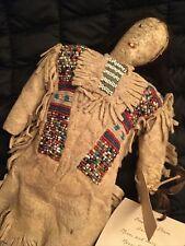 14� Antique Native American Sinew Sewn Beaded Doll - Cheyenne - 1870-1880