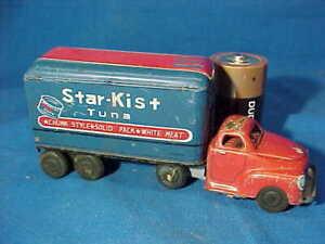 "1950s STAR KIST TUNA Tin Litho Friction Motor 6"" TOY TRACTOR TRAILER"