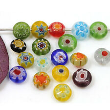 50Pcs New Charms Flat Shape Millefiori Glass Loose Spacer Beads DIY Bracelet 6mm