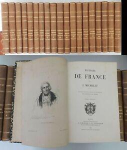 Histoire de France. Michelet, J. 1876 19 volumes complet- bien relié-