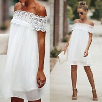 Womens Summer Off Shoulder Lace Bodycon Party Cocktail Evening Ladies Mini Dress