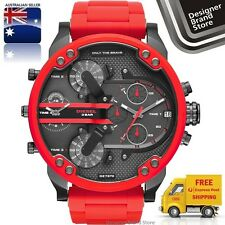 New Diesel Mens Watch Mr.Daddy 2.0 Red Silicone Wrapped Gunmetal 4 Zone DZ7370