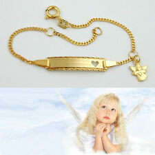 Baby Taufe Schutz Engel Herz Gravur Id Armband Name Datum Echt Gold 333 16 cm