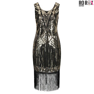 Ro Rox 1920's Sequin Tassel Cocktail Party Great Gatsby Costume Flapper Dress