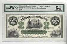1863  The Quebec Bank $2 / Cat#6203404P1  PMG-64 Front Proof