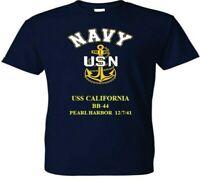 USS CALIFORNIA  BB-44 * PEARL HARBOR WW II VINYL & SILKSCREEN NAVY ANCHOR SHIRT.