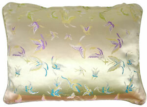 Luxury Gold Embroidered Butterfly Boudoir Cushion Cover with Piped Edge