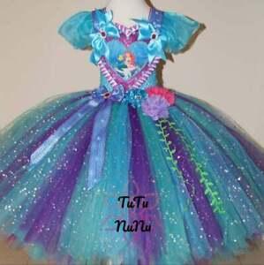 Handmade Girls Disney Little Mermaid Princess Ariel Glitter Party Tutu Dress