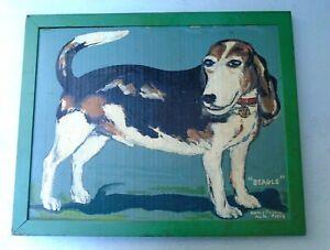 "Vintage Outsider Art Henry Fajen DOG ""Beagle"" Oil On CARDBOARD Best & Rare"