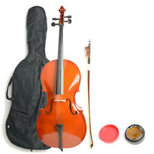 New 4/4 Professional Adult Retro Color Basswood Cello +Bag+Bow+Rosin+Bridge