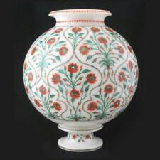 "12"" Marble Flower vase Pot handmade inlay work decorative Home Decor"