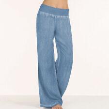 US Womens Casual High Waist Elastic Denim Wide Leg Palazzo Harem Pants Trousers