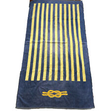 Vintage Frette Beach Towel, Oversized Pool Towel Bath Sheet Blue & Gold Stripe