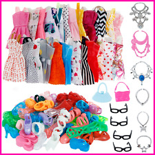 32 Pack Barbie Doll Dress Clothes Outfits Party Necklaces Glasses Shoes For Girl