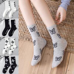 Womens Fashion Butterfly Pattern Socks Ladies Streetwear Cotton Socks 1 Pair