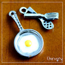 Fried Egg charm set of 2 ~ frying pan utensil spatula breakfast fry enamel bead