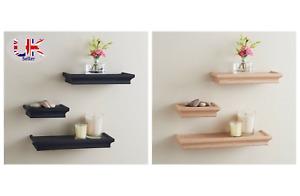Set of 3 Wooden Effect Floating Shelf/Shelves Easy to Fit Black and Beige 329107