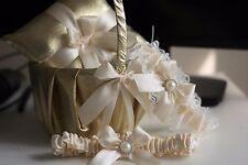 Gold Flower Girl Basket + Ring bearer Pillow + Bridal Garters Set  Gold Wedding