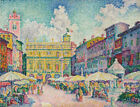 Market Of Verona Paul Signac Cityscape Kitchen Wall Decor Print CANVAS Small Art