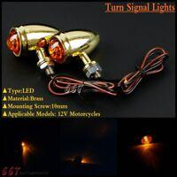2Pcs Brass 12V LED Turn Signal Lights Indicator Lamp For Ducati Hyosung Suzuki