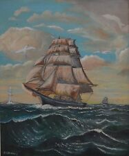 Large Nautical Maritime Mast Ship Blue Ocean Sea Oil painting Signed