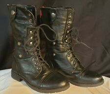 Black Red Combat Military Biker Boots Shoes Zip Lace Italy Size 5 US / 3 UK