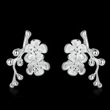 Hot 925Sterling Solid Silver Jewelry Plum Blossom Stud Earrings For Women E658