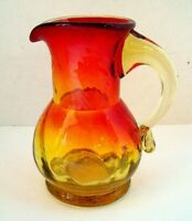 VINTAGE HANDMADE AMBERINA SWIRL GLASS  MINI PITCHER MINT