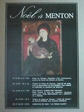Noël à MENTON affiche originale Vierge à l'enfant Italie 13° s Palais Carnolès