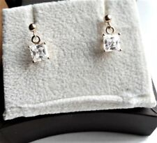 Cut Clear Stone Post Earrings 1.3g Vintage Solid 14K Yellow Gold & Princess